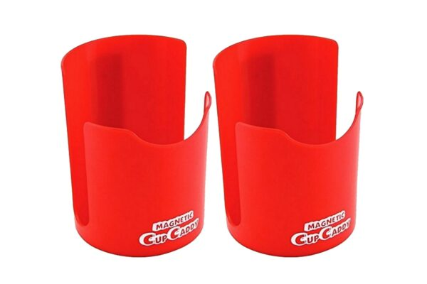 Magnetic Cup Holder -Hold Hot or Cold Beverages - Powerful Magnets Keep Caddy Attached to Any Magnetic Surface 2pk (Red)