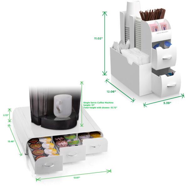 Mind Reader 2-Piece K-Cup Coffee Pod Drawer and Condiment Organizer Caddy, White