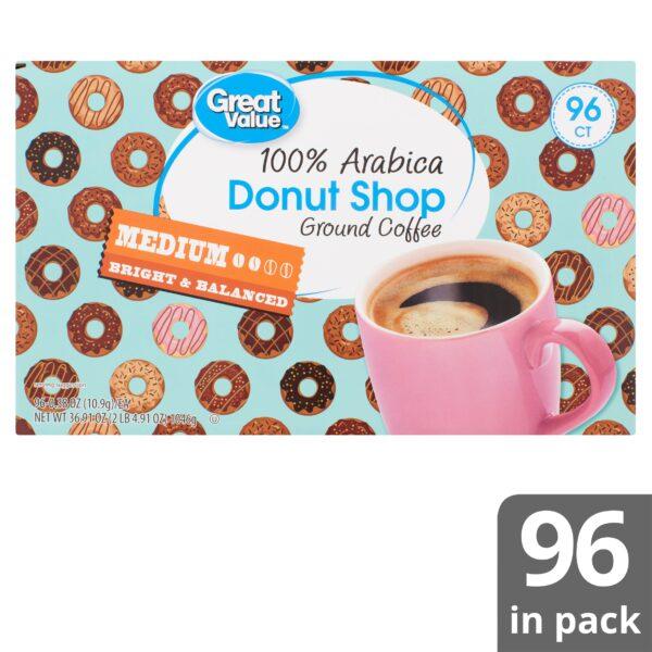 Great Value Donut Shop 100% Arabica Medium Ground Coffee, 0.38 oz, 96 count