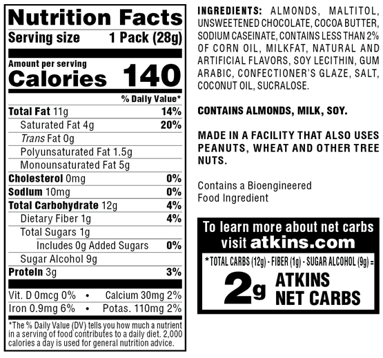 Atkins Endulge Treat, Chocolate Covered Almonds, Keto Friendly, 5 Count