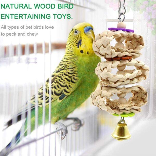 8Pcs/Set Bird Parrot Toys Wooden Hanging Swing Hammock Climbing Ladders Perches Toy Parakeet Cockatiels Bird Cage Supplies C42