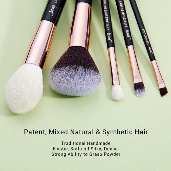 Jessup set Black / Rose Gold Professional Makeup Brushes Set Beauty Tool Make up Brush Foundation Powder Definer Shader Liner