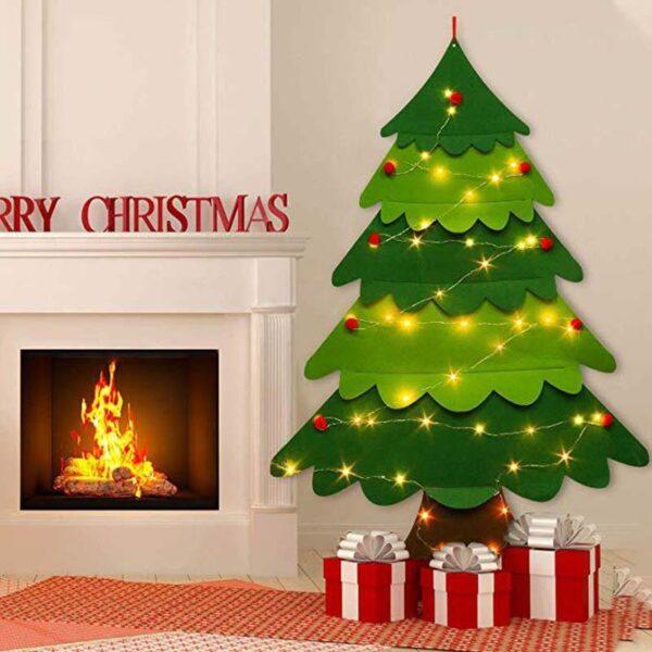 DIY Crafts Toys Felt Christmas Tree Snowman with Ornaments Fake Christmas Tree Kids Toy Christmas Party Decoration New Year 2020