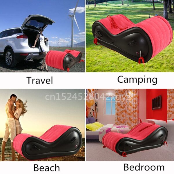 Multifunction Inflatable Bed Sofa For Travel Beach Beds Chaise Fold Bedroom Furniture ArmChair Velvet PVC Leather Bed Frames
