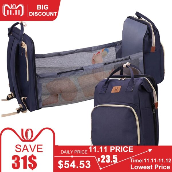 Baby Diaper Bag Bed Backpack For Mom Maternity Bag For Stroller Nappy Bag Large Capacity Nursing Bag for Baby Care Free Hooks