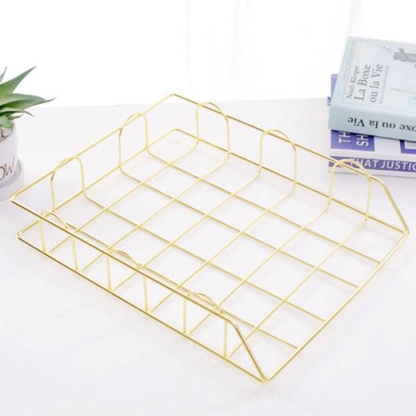 Nordic Metal Home Office Storage Basket Desk Organiser Desk Organiser Desktop A4 Paper Organization Magazine Newspaper Organizer
