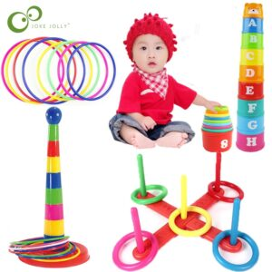 Baby Stacking Cup Rainbow Circle Ferrule Stacked Layers Throwing Game Educational Outdoor Fun Toys Children Birthday Gift ZXH
