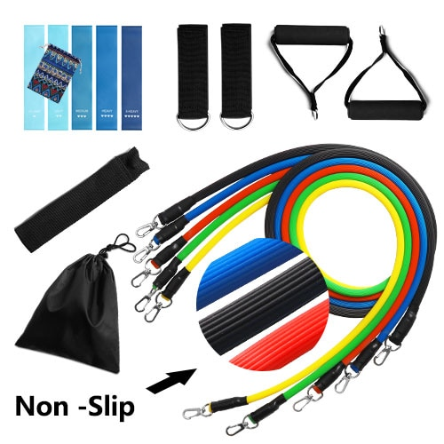 11PCS Crossfit Resistance Bands Tube Set Stretch Training Rubber Expander Tubes Pilates Fitness Gum Elastic Pull Rope Equipment