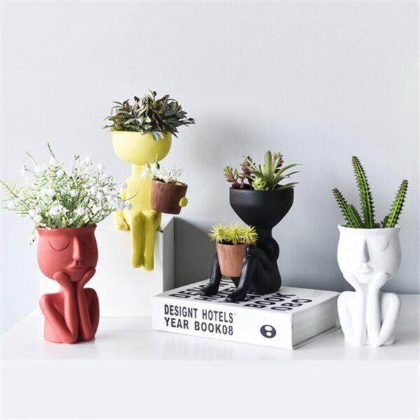 Creative Art Portrait Sculpture Vase Flower Pot Garden Storage Abstract Character Succulents Plant Pot Micro Landscape Decor