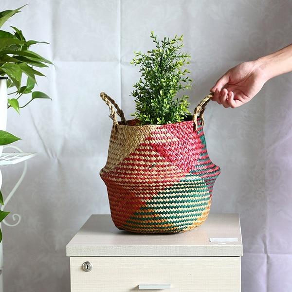 WHISM Storage Basket Rattan Straw Basket Wicker Folding Flower Pot Seagrasss Flower Baskets Garden Planter Flower Pot