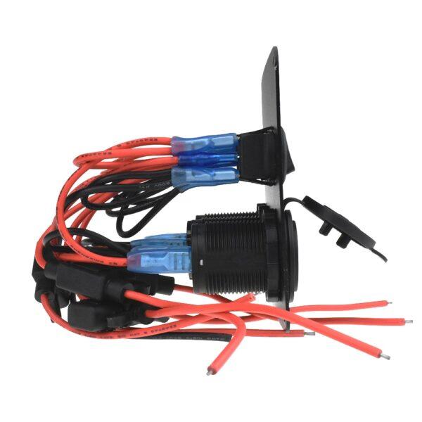 Boat Switch Panel Car Switch Panel Waterproof Digital Voltmeter Dual USB Port 12V Outlet Combination Marine LED Rocker 5 Gang