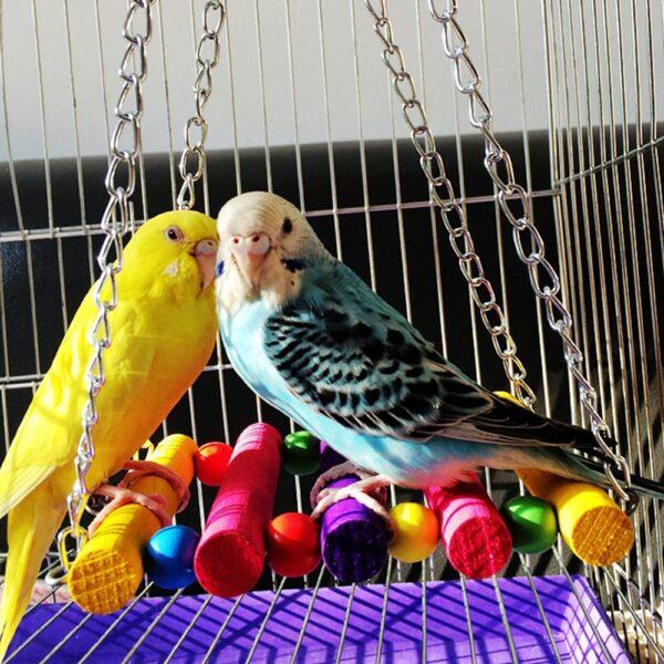 7Pcs/set Pet Parrot Hanging Toy Chewing Bite Rattan Balls Grass Swing Bell Bird Parakeet Cage Accessories Pet Supplies