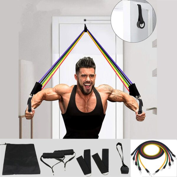 11 Pcs Elastic Resistance Bands Sets Workout Rubber Elast Band For Fitness Sports Gym Exercise Equipment Training Pull Rope