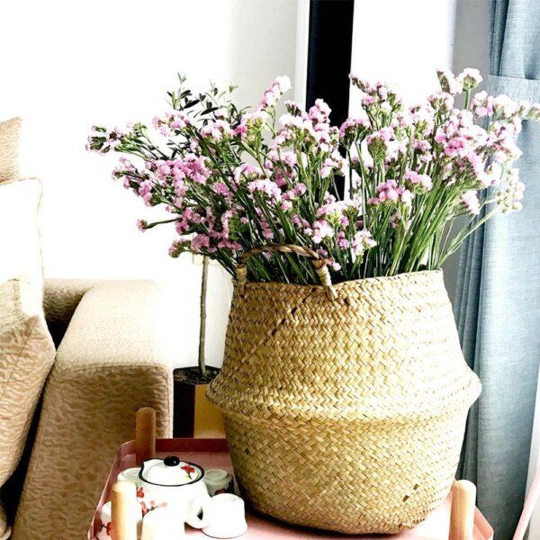 Straw Foldable Hanging Rattan Flower Basket Handmade Wicker Plant Pot Planter Modern Flowerpot Home Decorative