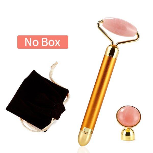 3 In 1 Electric Jade Roller Slimming Face Massage Lifting Vibrating Natural Rose Quartz Jade Roller Stone Facial Beauty Tool