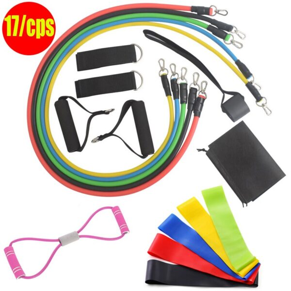VIP Drop Shipping 11pcs Pull Rope Fitness Exercises Resistance Bands Set Training Yoga Band Gym Fitness Equipment