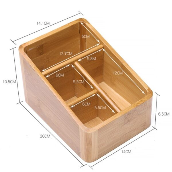 Desk Remote Control Holder Wooden Storage Box Pen Key Collection Cosmetics Organizer Storage Boxes for Home Office