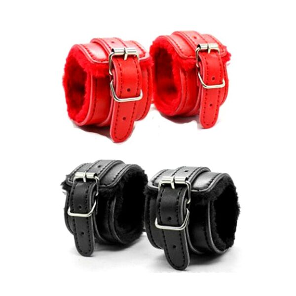 Adjustable PU Leather Plush Hand Cuffs Ankle Handcuffs For Bdsm Toys Restraints Sex Bondage Adult Games Exotic Accessories