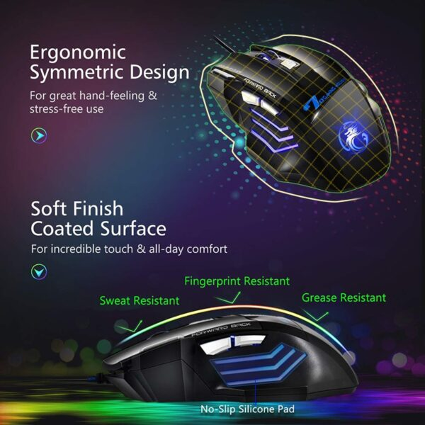 Ergonomic Wired Gaming Mouse 7 Button LED 5500 DPI USB Computer Mouse Gamer Mice X7 Silent Mause With Backlight For PC Laptop
