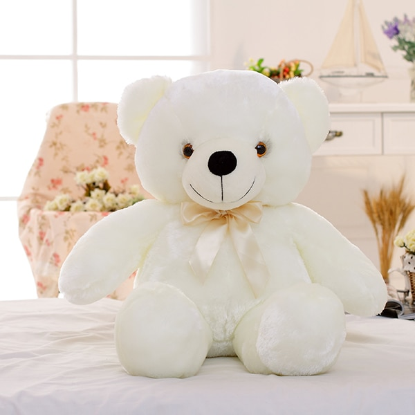 50cm Creative Light Up LED Teddy Bear Stuffed Animals Plush Toy Colorful Glowing Christmas Gift for Kids Pillow