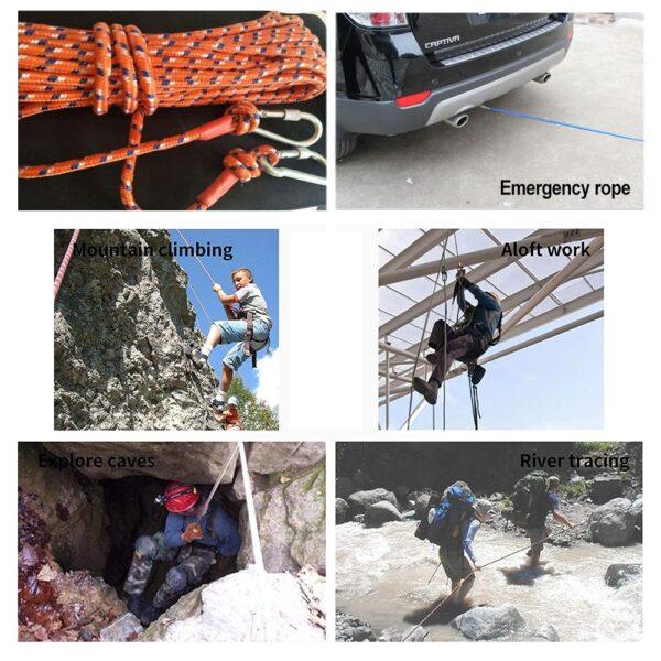 Desert&Fox Climbing Rope 10m/20m/30m/50m Outdoor Emergency Rope Wear Resistant 9mm Diameter High Strength Hiking Accessory Tool