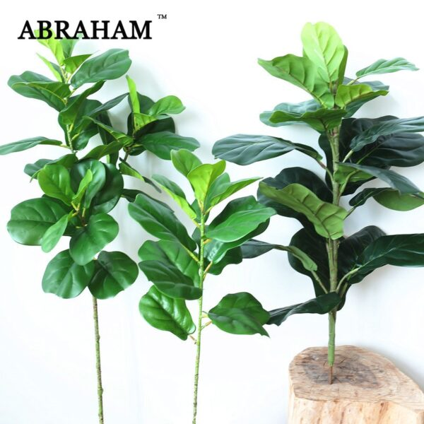 122cm Large Artificial Ficus Tree Branch Fake Green Plants Palm Leafs Tropical Shrub Faux Rubber Tree for Home Autumn Decoration