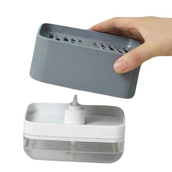 Soap Pump Dispenser with Sponge Holder Liquid Dispenser Container Hand Press Soap Organizer Kitchen Cleaner Tools