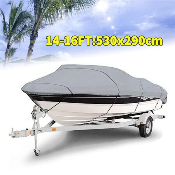 Boat Cover Yacht Outdoor Protection Waterproof Boat Cover Oxford Fabric Anti-smashing Tear Proof Silver Reflective 300D 11-22FT