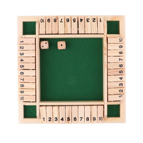 Deluxe Four Sided 10 Numbers Shut The Box Board Game Set Dice Party Club Drinking Games for Adults Families