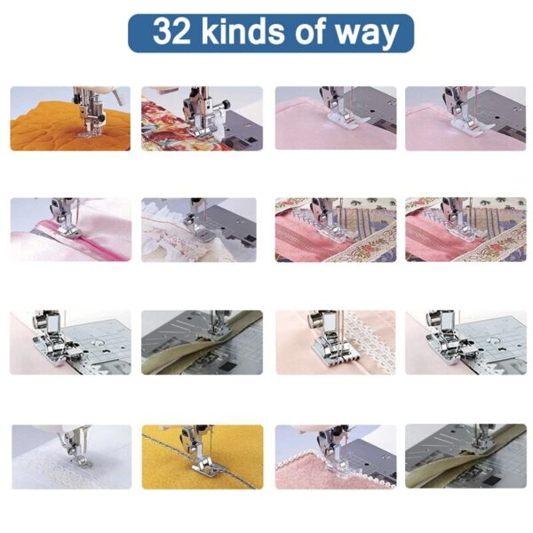 ABEDOE 32pcs Domestic Sewing Machine Presser Foot Set Tool Replacement Sewing Accessories For Janome Brother Singer NewHome