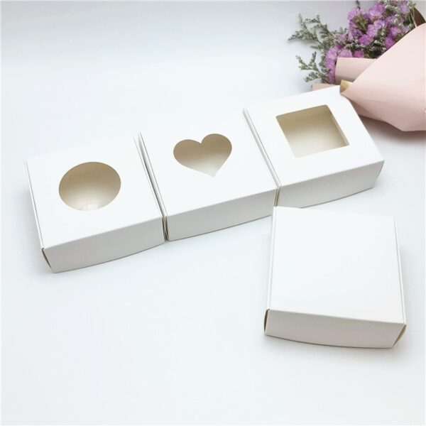 24 Pcs PVC Window Christmas Candy Brown Gift Packaging Box For WeddingCandyCraftsCakeHandmade Soap Packing Gift Boxes