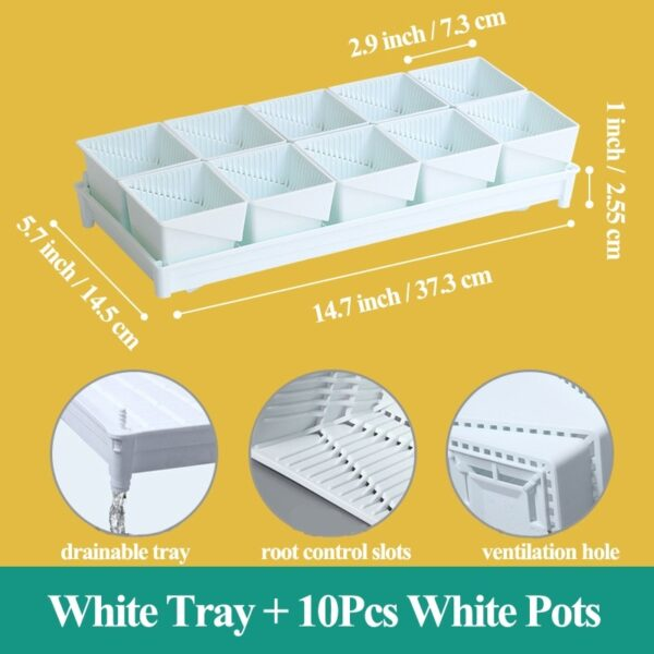 Meshpot 2 3 4 Inches Square Plastic Succulents Planter Pots With Tray Set,Nursery Pot Cactus Plant Pot Garden Pot