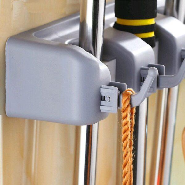 1pc Wall Mounted 3/4/5 Position Kitchen Shelf Storage Holder for Mop Brush Broom Mops Hanger Organizer Kitchen Hanging Tool