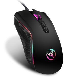 Hongsund brand High-end optical professional gaming mouse with 7 bright colors LED backlit and ergonomics design For LOL CS