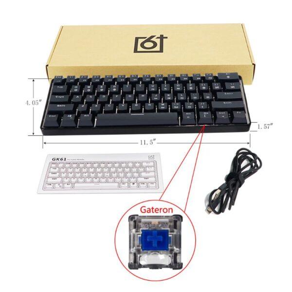 GK61 SK61 61 Key Mechanical Keyboard USB Wired LED Backlit Axis Gaming Mechanical Keyboard For Desktop
