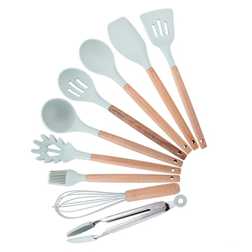 Silicone Kitchenware Cooking Utensils Set Heat Resistant Kitchen Non-Stick Cooking Utensils Baking Tools With Storage Box Tools