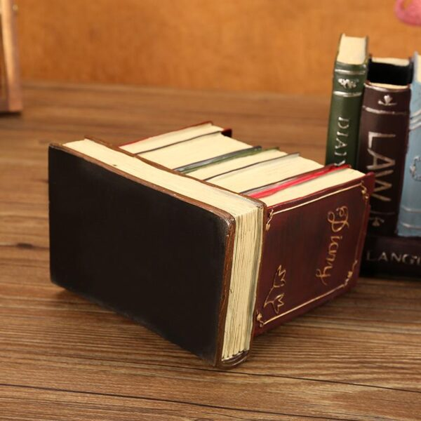 Retro Resin Book Shaped Pen Pencil Holder Container Living Room Office Desk Accessories Stationery Storage Organization Decor
