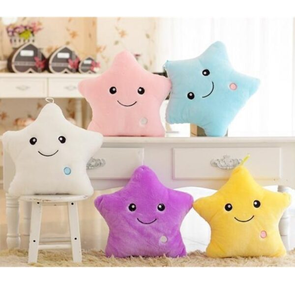Creative Luminous Pillow Stars Stuffed Plush Toy Glowing Led Light Colorful Cushion Birthday Gifts Toys For Kids Children Girls