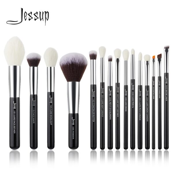 Jessup Brand Black/Silver Professional Makeup Brushes Brush set Beauty Tools Make up Foundation Powder natural-synthetic hair