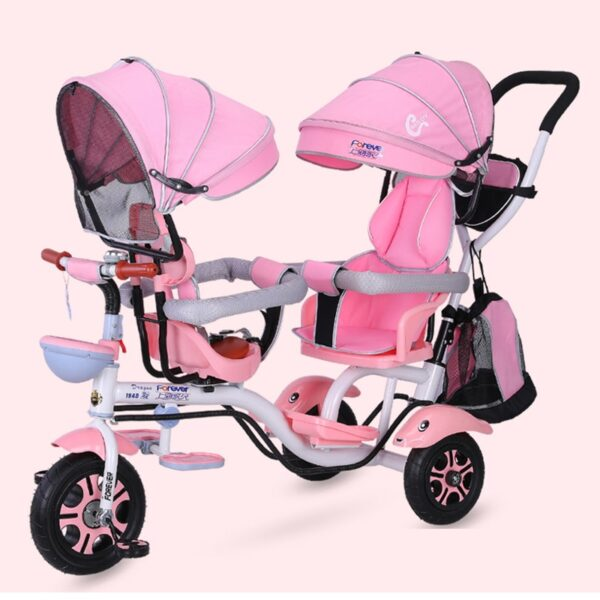 4 in 1 Twin Baby Stroller Children's Tricycle Double Seat Bicycle Baby Infant Child Trolley Travel Umbrella Carriage1-6Y