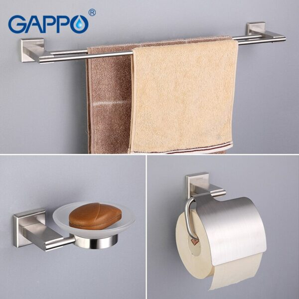 GAPPO Bath Hardware Sets Stainless Steel bath towel holder Soap Dishes Paper Holders Robe Hook Toilet Brush bathroom accessories