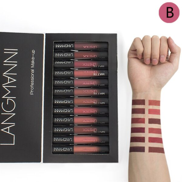 Cellacity matte Lipstick Set 12pcs/lot Waterproof Nutritious Velvet lip stick Red Tint Nude batom women fashion lips makeup set