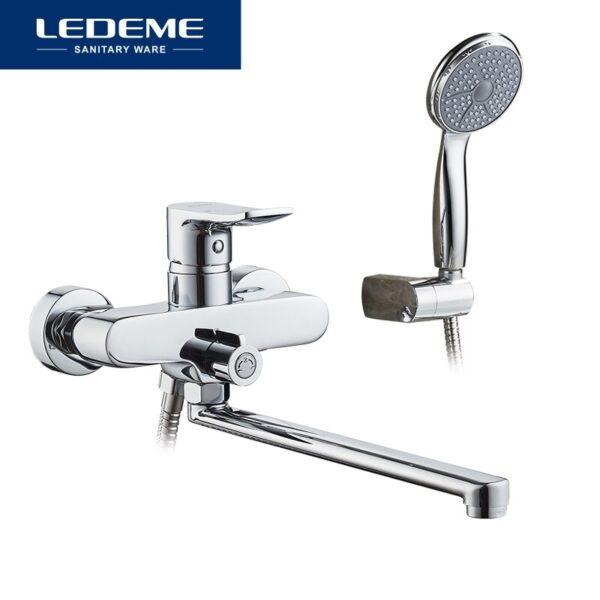LEDEME Bathtub Faucet set for Bathroom Outlet Pipe Chrome Plated Bath Faucets Surface Brass Bathtub Faucets Shower Head L2234