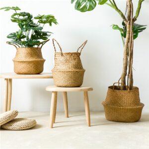 Handmade Bamboo Storage Baskets Foldable Laundry Straw Patchwork Wicker Rattan Seagrass Belly Garden Flower Pot Planter Basket