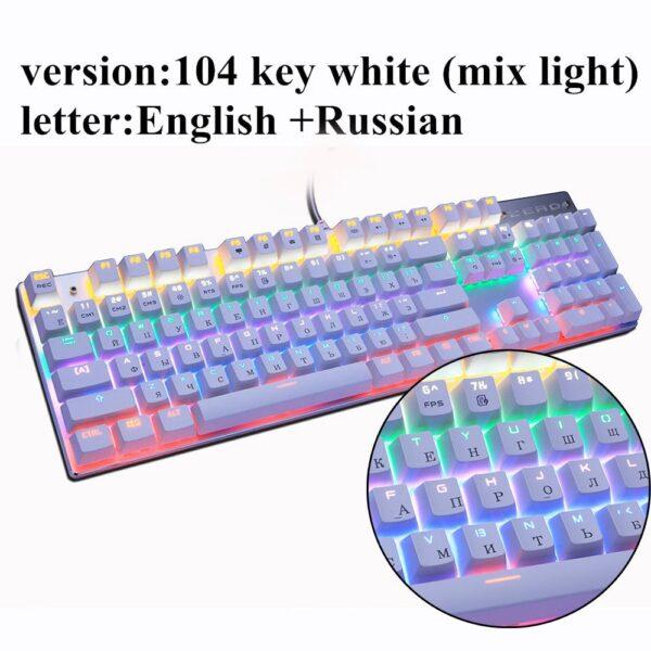 Metoo Edition Mechanical Keyboard 87 keys Blue Switch Gaming Keyboards for Tablet Desktop Russian sticker
