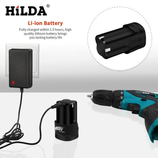 HILDA Electric Drill Cordless Screwdriver Lithium Battery Mini Drill Cordless Screwdriver Power Tools Cordless Drill