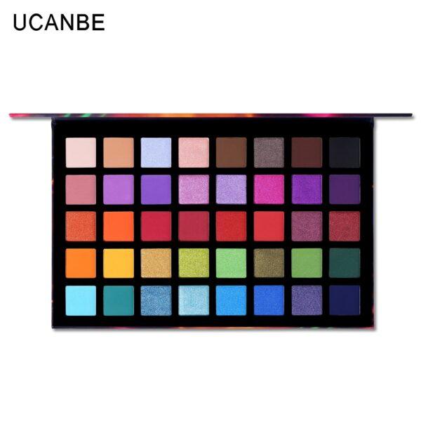UCANBE Spotlight 40 Color Eye Shadow Palette Colorful Artist Shimmer Glitter Matte Pigmented Powder Pressed Eyeshadow Makeup Kit