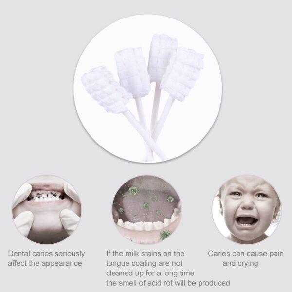 Baby Toothbrush Baby Tongue Cleaner 30 Pcs Disposable Gauze Toothbrush Infant Oral Cleaning Stick Dental Care brush tooth