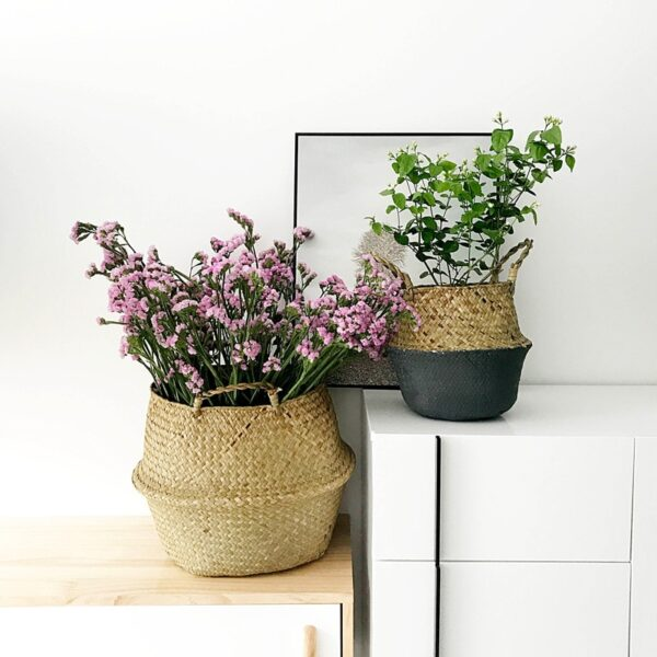 WHISM Foldable Hanging Rattan Flower Pot Basket Handmade Seagrass Wicker Plant Pot Planter Vase Modern Flowerpot Home Decorative