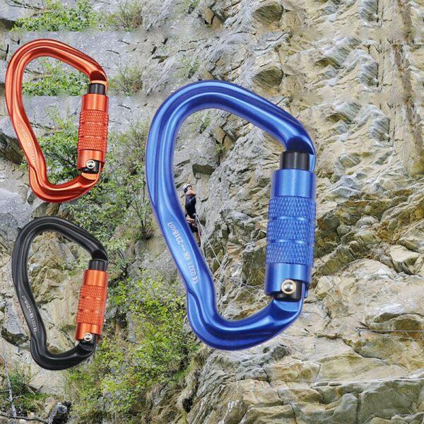 25KN Climbing Carabiner D Shape Climbing Buckle Lock Security Safety Master Screw Lock Buckle Equipement